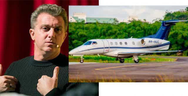 Montagem de uma foto do Luciano Huck e uma foto de seu avião particular na pista de vôo